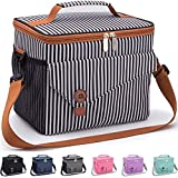 Reusable Lunch Bag with Detachable Shoulder Strap, Leak-proof Lunch Box for Office/School/Picnic/Beach, Large Capacity Cooler Tote Bag for Kids/Adult (brown+black white strip)