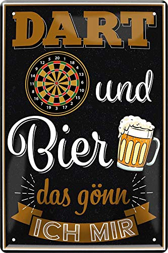"""Blechschilder lustiger Spruch: """"Dart UND Bier DAS GÖNN ICH Mir"""" Deko Bar Pub Schild Theke für Dart Fans Geschenkidee 20x30cm"""