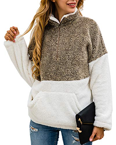BTFBM Women Long Sleeve Zipper Sherpa Sweatshirt Soft Fleece Pullover Outwear Coat with Pockets (Khaki, Medium)