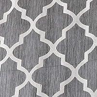 幾何学的なデザインジャカードショートカーテンキッチンブラインド ロッドポケットタイアップバルーンチェック柄