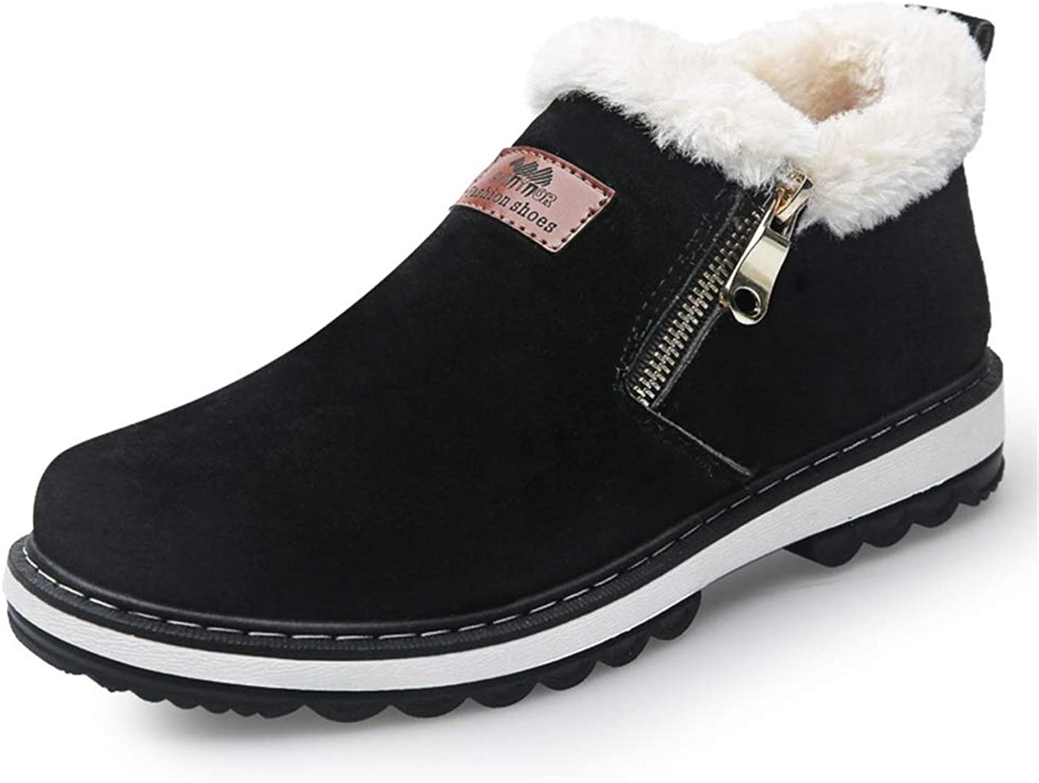 ZHRUI Mens Side Zip Winter Boots Fur Lined Casual Non Slip Breathable Durable Boots (color   Black, Size   UK 8)