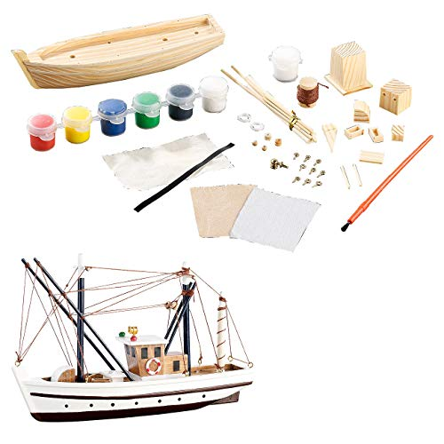 Playtastic Bausatz Boot Kinder: 40-teiliger Schiff-Bausatz Fischkutter aus Holz (Bausatz Schiff Kinder)