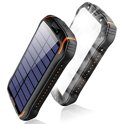 AP.DISHU Cargador Solar, 26800 mAh Banco de Energía Solar Portátil con Linternas LED Ultrabrillantes Cargador Rápido Paquete de Batería Externo para Acampar al Aire Libre