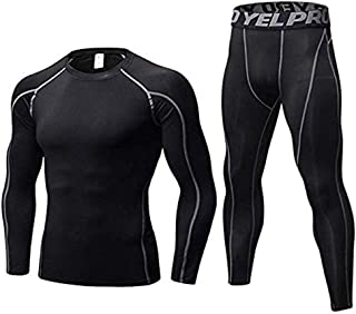 Men's Compression Base Layer Long Sleeve T-Shirt Leggings Athletic Cool Dry Running Tights