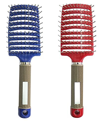 detangling nylon bristle brush, single brush anti-static,the detangler vented paddle styling hair brush,curved vented boar bristle styling hair brush,vented detangling hair brush curved (red+blue)