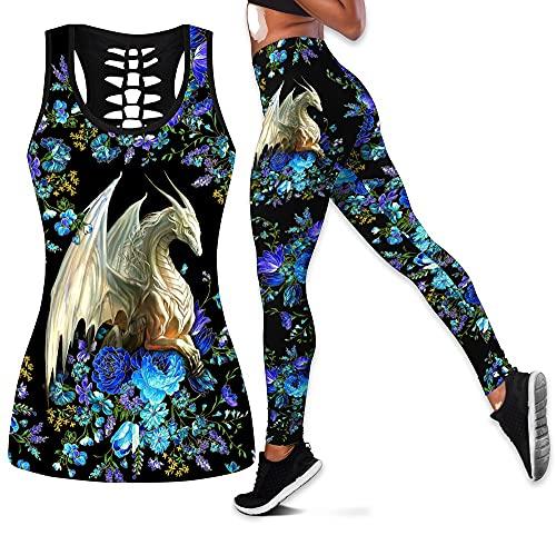 Verano 2021 Pantalones De Chaleco Hueco Impresos En 3D para Mujer Ocio Yoga Fitness Running Traje De Dos Piezas (Color : A, Tamaño : XL)