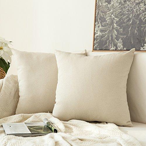 MIULEE 2er Pack Leinenoptik Home Dekorative Kissenbezug Kissenhülle Kissenbezug für Sofa Schlafzimmer Auto mit Reißverschlüsse 40x40 cm Creme Weiß