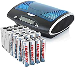 Tenergy Premium High Capacity Rechargeable Batteries 24 Pack and Charger, 12xAA 8xAAA 4x9V and LCD Smart Charger for High Performance Professional Electronics…
