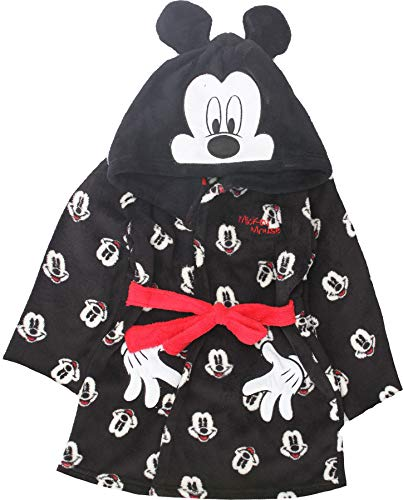 Disney Mickey Mouse Bademantel für Jungen mit Gesichtern aus Fleece Gr. 6 Jahre, Schwarz