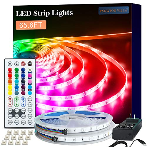 LED Strip Lights, 65.6ft RGB 5050 LED Lights for Bedroom, Room, Kitchen, Home Decor DIY Color Changing Led Light Strip Kit with 44key Remote and Power Supply