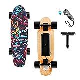 Skateboard Eléctrica con Control Remoto, 25.4 '' Monopatín de 4 Ruedas con Batería de Litio, Velocidad máxima de 20 km/h, Motor de 350 W, 7 Capas de Tabla de Hoja de Arce Sólida