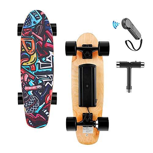 Skateboard Eléctrica con Control Remoto, 25.4 '' Monopatín de 4 Ruedas con...