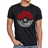 A.N.T. Atrapa más Monstruos Camiseta para Hombre T-Shirt Poke Ball Videojuego, Talla:L