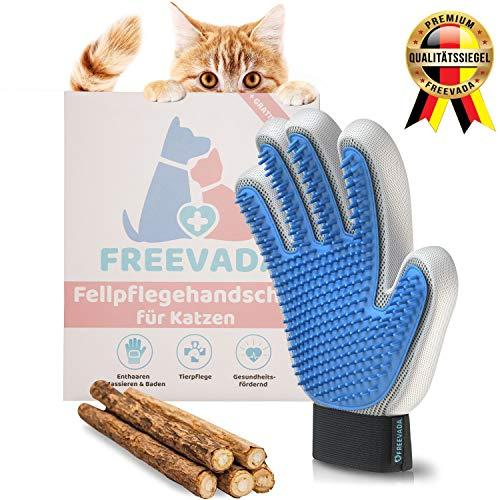 Freevada Qualitäts Fellpflege-Handschuh für Kurze/Lange Hunde und Katzenhaare | 2-in-1 Katzenbürste für Möbel und Kleidung | für Deine Katze, Hund, Kaninchen | Katzen Zubehör