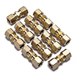 LTWFITTING 3/8-Inch OD Compression Union,Brass Compression Fitting(Pack of 10)
