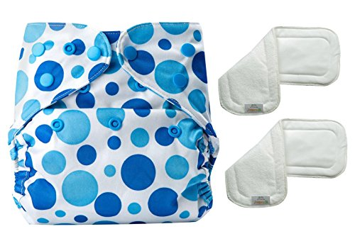 Bumberry Reusable Diaper Cover and 2 Wetfree Inserts (3 - 36 Months, Blue and White)
