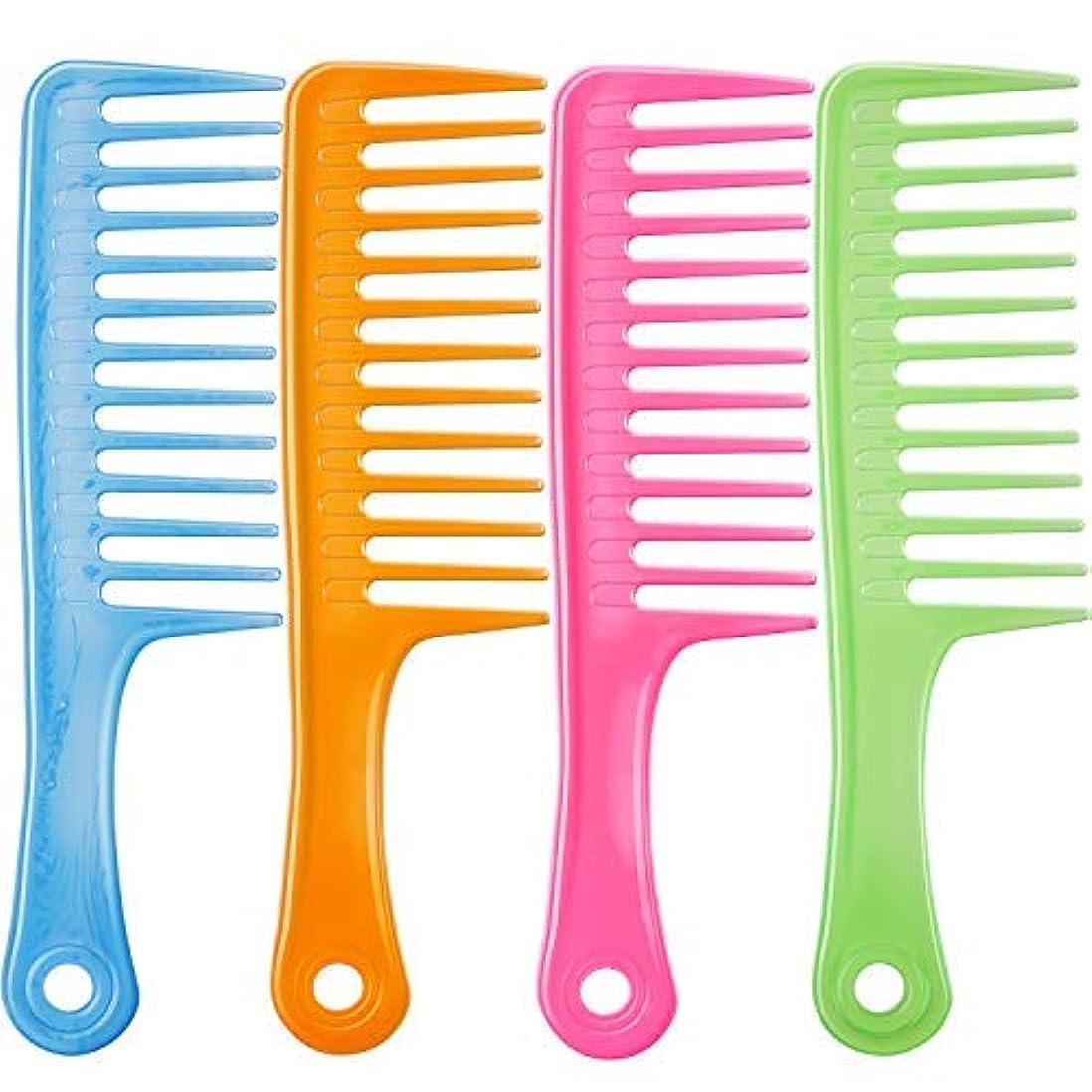 おっと土地穴TecUnite 4 Pieces 9 1/2 Inches Anti-static Large Tooth Detangle Comb, Wide Tooth Hair Comb Salon Shampoo Comb for Thick Hair Long Hair and Curly Hair (Mutil Color 3) [並行輸入品]