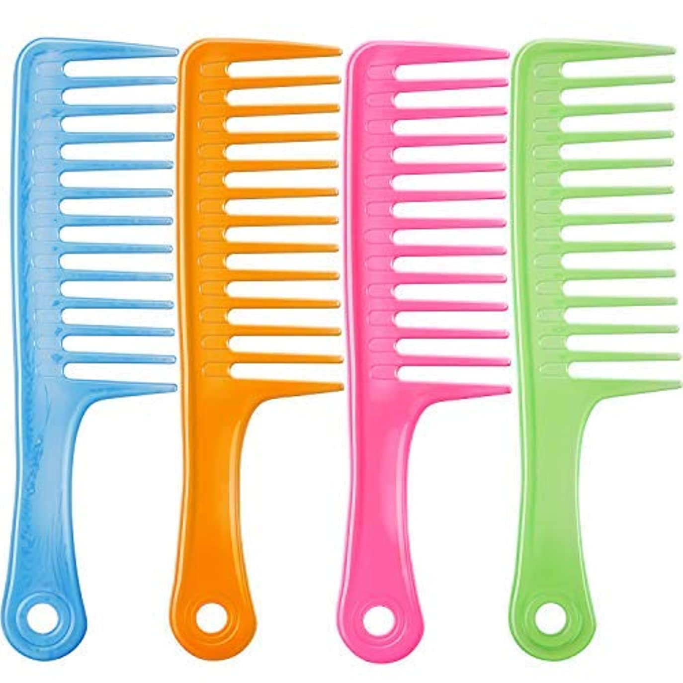 ペット軸ステーキTecUnite 4 Pieces 9 1/2 Inches Anti-static Large Tooth Detangle Comb, Wide Tooth Hair Comb Salon Shampoo Comb for Thick Hair Long Hair and Curly Hair (Mutil Color 3) [並行輸入品]