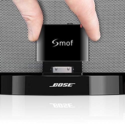 Smof Adaptador Bluetooth de 30 Pin, Adaptador Bluetooth para Bose Sounddock Compatible para iPhone / iPod, Adaptador Bluetooth para Receptor Estéreo