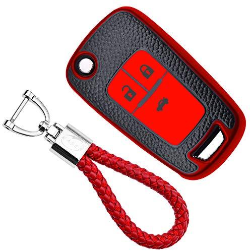 KASER Funda Carcasa Llave Coche Silicona TPU Compatible para Chevrolet Opel Mokka Astra Corsa Cruze Aveo Zafira Cover Llaveros Efecto Piel Protección Mando de Coche (Rojo)