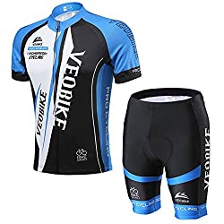 VEOBIKE Herren Trikot Set Kurzarm Trikot Fahrradbekleidung Fahrradtrikot Männer Trikot Atmungsaktiv Schnell Rocknend, EU L, Blau&Weiß