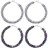2 Pairs Glitter Hoop Earrings Bohemian Sparkle Resin Rhinestone Wrapped Big Hoop Dangle Earrings Set Circle loop Jewelry for Women Girls (Black and Silver)