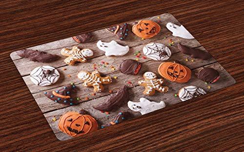 ABAKUHAUS Koekje Placemat Set van 4, Snoepjes bedekt met chocolade, Wasbare Stoffen Placemat voor Eettafel, Veelkleurig
