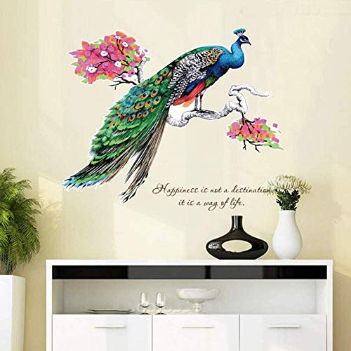 Large Colorful Peacock Tree Branches Home Decor Vinyl Art Decal 3D Wallpaper Decoration for Kids Rooms Wall Stickers zeenca
