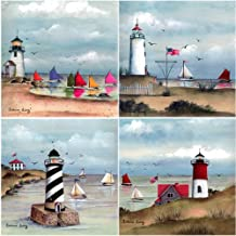 CoasterStone AS9240 Absorbent Coasters, 4-1/4-Inch,Coastal Lighthouses, Set of 4