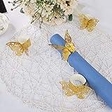 MaoXinTek Serviettenring Schmetterling Papier Serviettenschnalle für Hochzeit Taufe Kommunion Graduierung Geburtstag Weihnachten Bankett 50Pcs Gold - 4