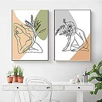 花の葉抽象絵画女性セクシーな壁アートプリントヨガガールキャンバスポスター絵画北欧の壁の写真寝室の装飾  40x60cmx2Pcs /フレームなし