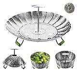Steamer Basket, Veggie Steamer Basket for Cooking Stainless Steel Folding Vegetable Steamer Insert...
