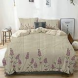 Juego de funda nórdica beige, hierbas aromáticas en tablones de madera Ilustración botánica de la naturaleza primaveral, juego de cama decorativo de 3 piezas con 2 fundas de almohada Fácil cuidado Ant