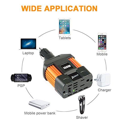 Ampeak 100W Car Power Inverter DC 12V to 110V AC Converter with 2.1A USB Car Adapter