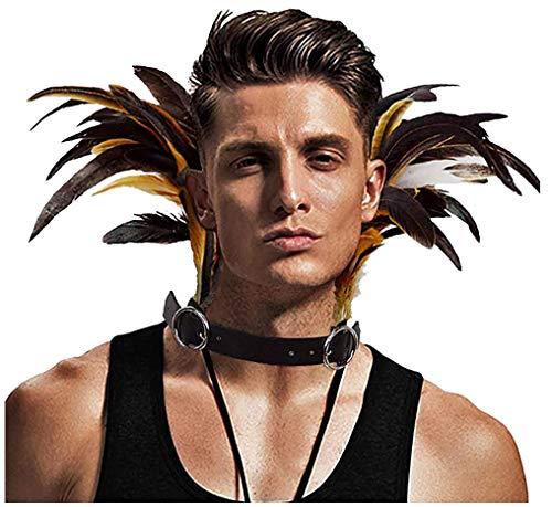 keland Gotisch PU-Leder Feder Hals mit Choker Collar Halsband für Halloween Party(Braun