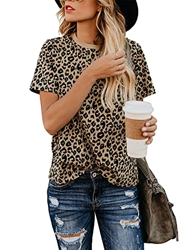 Blooming Jelly Womens Leopard Print Tops Short Sleeve Round Neck Casual T Shirts Tees(L,Leopard 1)