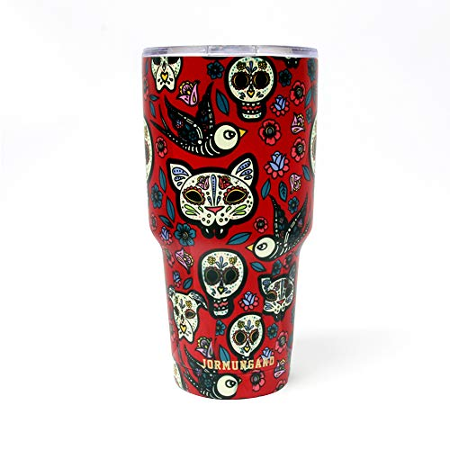 Jormungand Tumbler 30oz Stainless Steel Vacuum Insulated Travel Mug with Lid of Straw Friendly Double Wall Coffee Cup Sugar Skull Red
