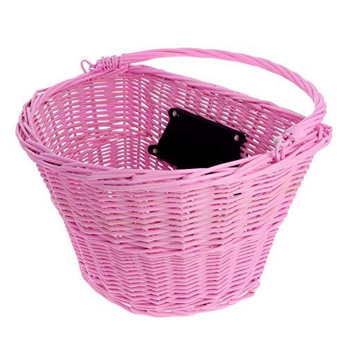 Smartfox geflochtener Weidenkorb Fahrradkorb Lenkerkorb Vorderkorb Einkaufskorb für Fahrrad City-Bike Vintage-Style in rosa