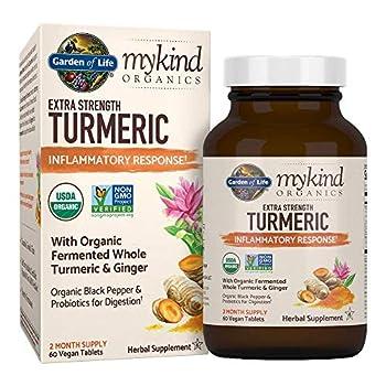 Garden of Life mykind Organics Extra Strength Turmeric Inflammatory Response 60 Tablets-100mg Curcumin  95% Curcuminoids  Black Pepper Probiotics Organic Non-GMO Vegan Gluten Free Herbal Supplement