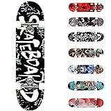 WeSkate Skateboards para niños, 78,7 x 20,3 cm, monopatín estándar, 7 capas de arce canadiense doble patada cóncava completa Cruiser truco monopatín para niños, jóvenes y adultos