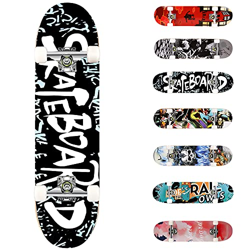 """Complete Skateboards 31""""x8""""by WeSkate with Double Kick Deck Standard Skateboard for Beginner, Kids Aged 5 and UP, 7 Layer Maple Wood Construction Trick Skater Board"""