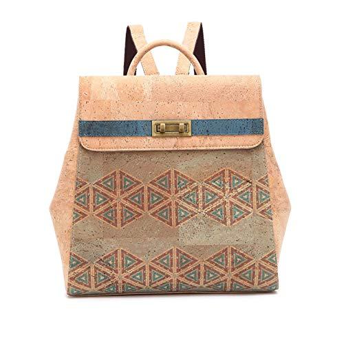 Damen-Rucksack aus biologisch-portugiesischem Kork/Farbdesign - 100% natürlich/modern und vegan - Handgefertigte Freizeittasche (096)