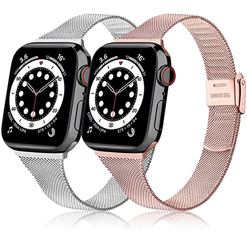 Lote de 2 pulseras compatibles con Apple Watch de 44 mm, 42 mm, 40 mm, 38 mm, delgadas, compatibles con iWatch Series 6, 5, 4, 3, 2, 1 Se (plateado y rosa, 38 mm y 40 mm)