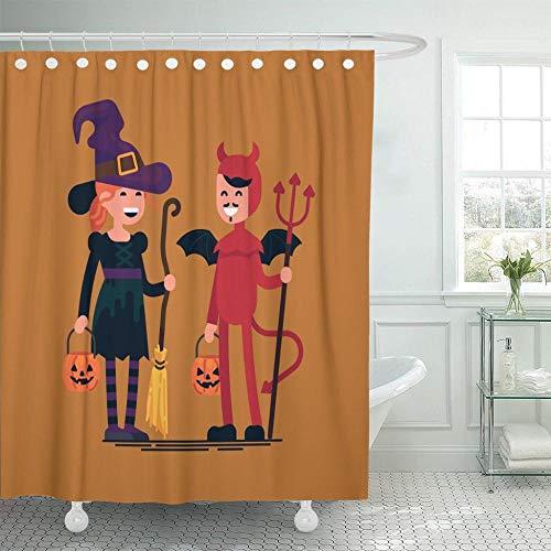 NOBRAND Mooie Karakter op Halloween Kinderen dragen Kostuums Gelukkig Jongen en Meisje in Heks Duivel Holding Groom Badkamer Gordijnen Waterdichtheid-W180xH180cm
