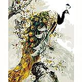 Bwhman Pintura por Números DIY Pintura Al Óleo Digital Pintura Acrílica Set Niños Adultos Decoración para El Hogar con Marco Sin Marco Pavo Real