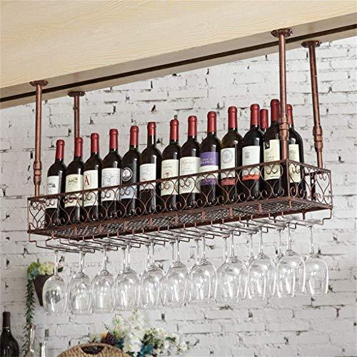 HLWJXS Estante de Vino Estante de Alenamiento de Champán para Vino Colgante Montado Retro Colgante Boca Abajo Cerveza Estante de Botella Invertido Soporte de Copa para Cocina Bar Restaurante,Bronce,e