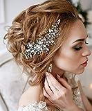 Deniferymake-up - Peineta para novia, accesorio para el pelo de novia, peine de cristal para boda