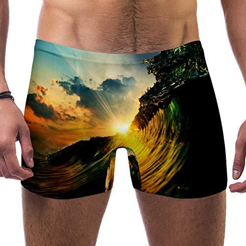 Lorvies Cool Sea Wave Surf Sunshine Herren Schwimm-Boxershorts, kurz, quadratische Beine, Badeanzug, schnell trocknend, Größe S Gr. XXX-Large, Multi