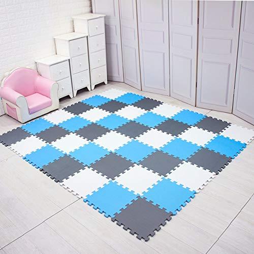 XiaoOu Baby Eva Foam Spielpuzzle Matte / 18 oder 24 / Los Übungsfliesen Bodenteppich Teppich für Kinder, je 29 cm * 0,8 cm, weiß blau grau, 24 Stück