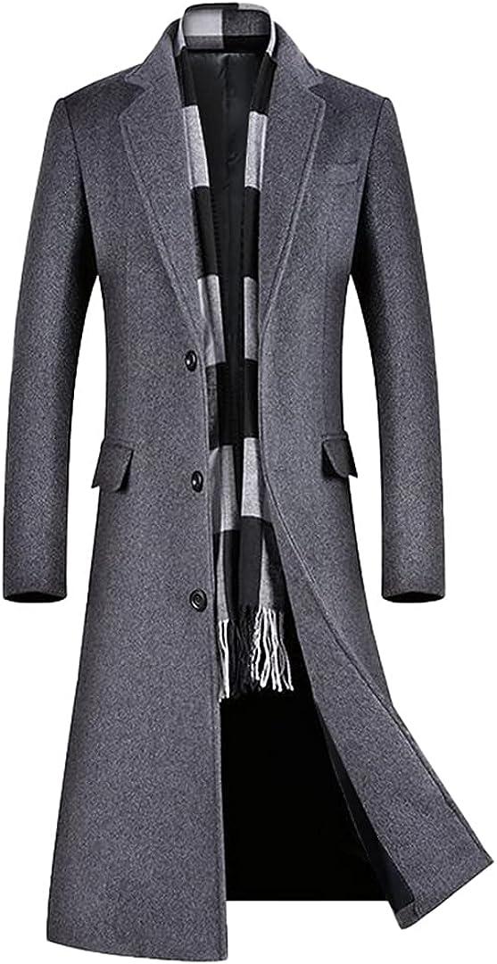 Men A Long Jacket Below The Knee Overcoat Wool Content Wool Coat Men Winter Coat